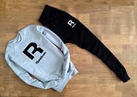 Мужской Спортивный костюм Reebok серый с черными штанами (большой черный принт) (реплика)