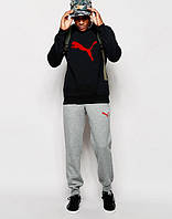 Молодежный спортивный костюм Puma черный с серыми штанами (большой принт) (реплика)