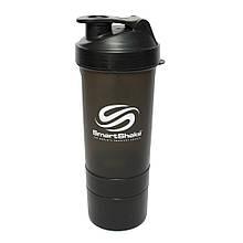 Бутылка - шейкер Smart Shake для спортивных коктейлей с поилкой 400 мл. Черный