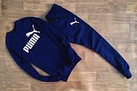 Трикотажный спортивный костюм Puma Пума темно-синий (большой белый принт) (реплика)