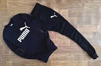 Трикотажный спортивный костюм Puma Пума черный (большой белый принт) (реплика)