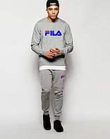 Трикотажный спортивный костюм FILA Фила серый (большой принт) (реплика)