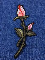 Нашивка Роза ветка с бутоном цвет нежно розовый B