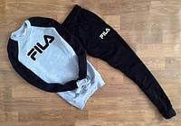 Спортивный костюм FILA Фила серый с черными штанами (большой принт) (реплика)