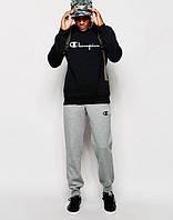 Трикотажный спортивный костюм Сhampion Чемпион черный с серыми штанами (большой принт) (реплика)