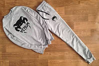 Модный спортивный костюм Venum Венум серый (большой черный принт) (реплика)