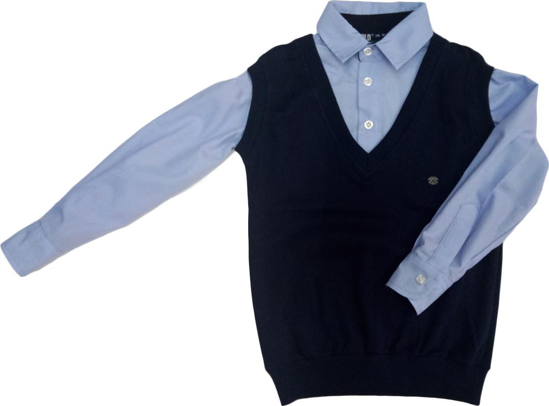 Рубашка+ жилетка обманка школьная на мальчика размер 116 122
