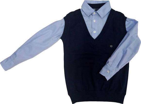 Рубашка+ жилетка обманка школьная на мальчика размер 116 122, фото 2