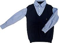 Рубашка+ жилетка обманка школьная на мальчика размер 116 122 128 134