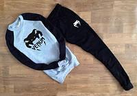Спортивный костюм Venum Венум серый с черными рукавами (большой черный принт) (реплика)