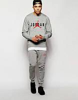 Стильный спортивный костюм Jordan Джордан серый (большой принт) (реплика)