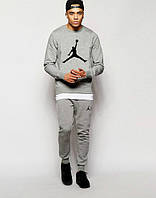 Стильный спортивный костюм Jordan Джордан серый (большой черный принт) (реплика)