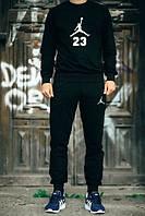 Стильный спортивный костюм Jordan 23 Джордан черный (большой белый принт) (реплика)