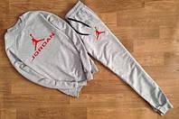 Модный спортивный костюм Jordan Джордан серый (большой красный принт) (реплика)