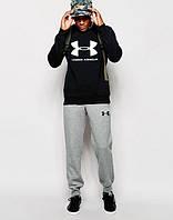 Спортивный костюм Under Armour Андер Армор черный с серыми штанами (большой принт) (реплика)