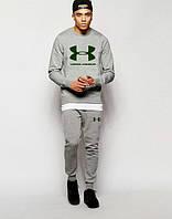 Спортивный костюм Under Armour Андер Армор серый (большой зеленый принт) (реплика)