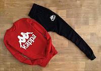Спортивный костюм Kappa Каппа красный с черными штанами (большой принт) (реплика)