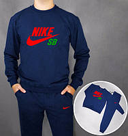 Модный спортивный костюм Nike Найк SB темно-синий (большой принт)