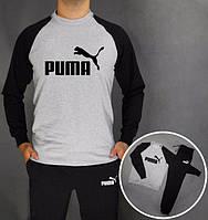 Спортивный костюм Puma Пума серый с черными рукавами (большой черный  принт) (реплика)
