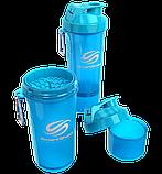 Бутылка - шейкер Smart Shake для спортивных коктейлей с поилкой 400 мл. Голубой, фото 2