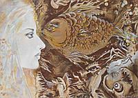 """""""Погляд"""", картина, графика, акварель, жанровая живопись, сюжет, девушка, портрет"""