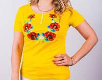 Стрейчевая футболка с вышитыми полевыми цветами
