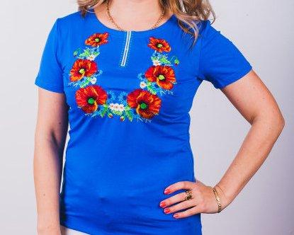 Женская футболка из натурального материала , с вышивкой