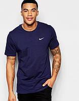 Футболка мужская Nike Найк темно-синяя (маленький принт) (реплика)