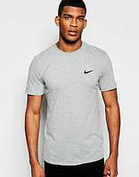 Футболка мужская Nike Найк серая (маленький черный принт) (реплика), фото 1