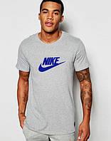 Футболка мужская Nike Найк серая (большой синий принт) (реплика), фото 1