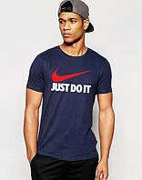 Футболка мужская Nike Just Do It Найк темно-синяя (большой принт) (реплика), фото 1