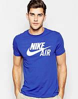 Футболка мужская Nike Air Найк синяя (большой принт) (реплика)