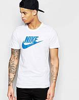 Футболка мужская Nike Найк белая (большой синий принт) (реплика), фото 1