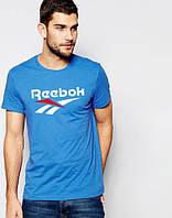 Футболка мужская Reebok Рибок синяя (большой принт) (реплика), фото 1