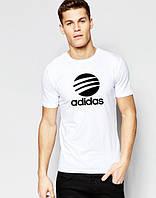 Футболка мужская Adidas Адидас белая (большой принт) (реплика)