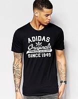 Молодежная футболка Adidas Original 1949 Адидас черная (большой принт) (реплика)