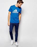 Мужская футболка Adidas Адидас синяя (большой принт) (реплика), фото 1