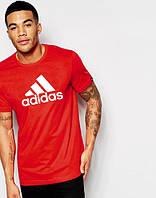 Футболка молодежная Adidas Адидас красная (большой принт) (реплика), фото 1
