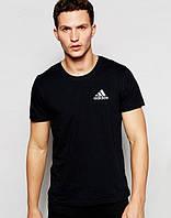 Молодежная футболка Adidas Адидас черная (маленький принт) (реплика)