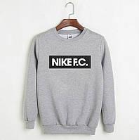 Свитшот мужской с принтом Nike F.C. Найк Кофта серая (реплика)