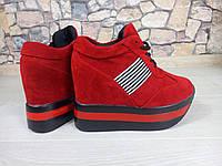 Женские кроссовки красные на платформе Китай