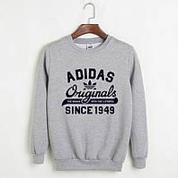 Свитшот мужской с принтом Adidas Originals 1949 Адидас Кофта серая (реплика)