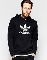 Тикотажная толстовка с принтом Adidas Адидас Худи черная (реплика)