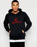 Толстовка Джордан Jordan  мужская черная с большим красным принтом худи (реплика)