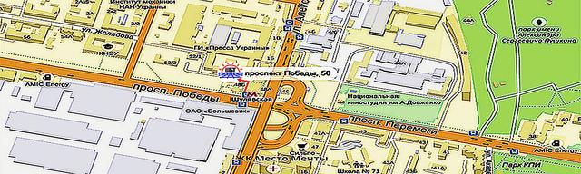 Шулявский филиал ИИБТ (Киев, пр-т Победы, 50). Красной стрелкой указано как пройти от ст. метро. Клик открывает местонахождение в Яндекс-картах.