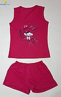 Комплект подростковый шорты с майкой, размеры от 34 до 44, Украина Малиновый