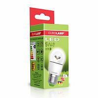 "LED Лампа EUROLAMP ЕКО серия ""D"" G45 шар 5W E27 4000K прозрачная"