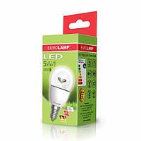 "LED Лампа EUROLAMP ЕКО серия ""D"" G45 шар 5W E14 3000K прозрачная"