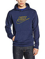 Мужская темно-синяя толстовка с принтом Найк Nike Худи (реплика)