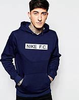 Молодежная толстовка темно-синяя с принтом Найк F.C. Nike Худи (реплика)